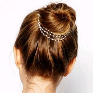 Accessories - Faux pearl & gold 3 strand bridal hair jewelry